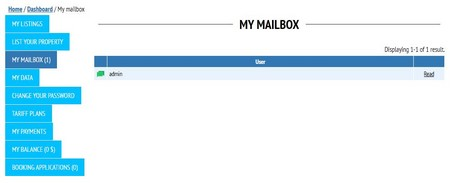 'My mailbox' in a user's account in Open Real Estate