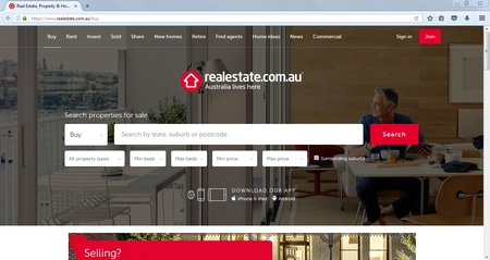 Search on the main page on realestate.com.au